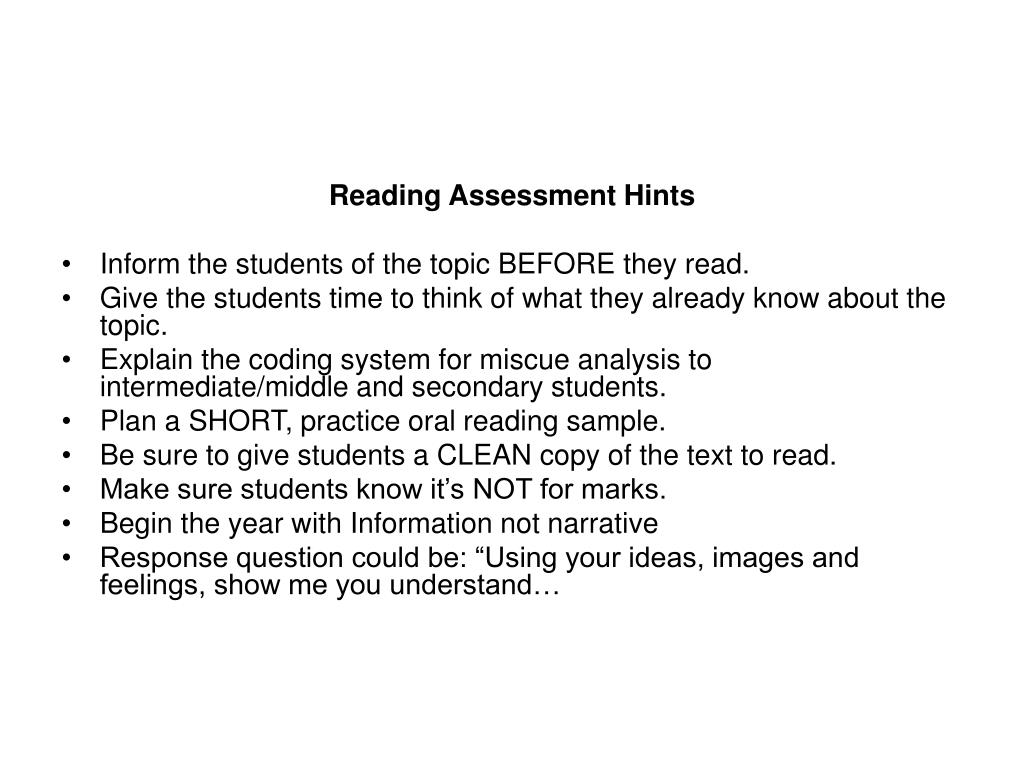 Reading Assessment Hints