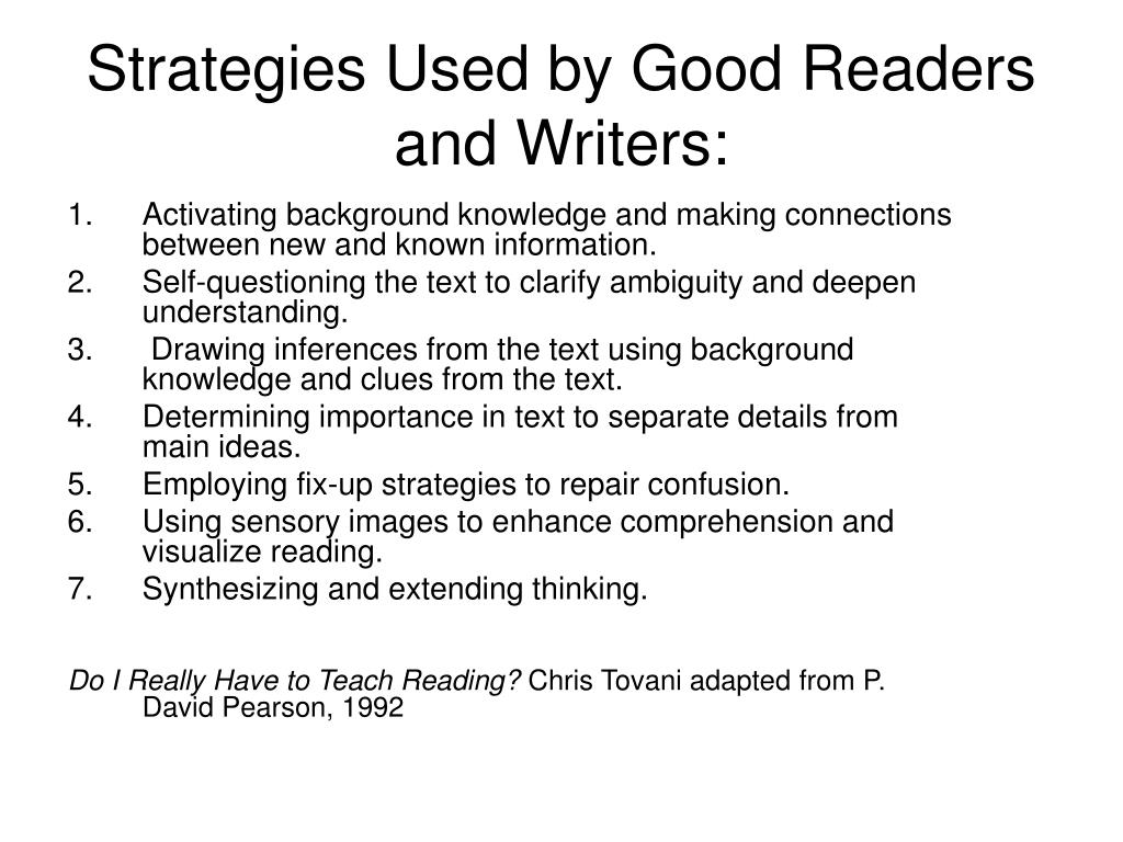 Strategies Used by Good Readers and Writers: