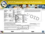 spot produced letter o f authorization