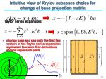intuitive view of krylov subspace choice for change of base projection matrix