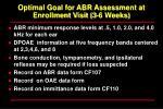 optimal goal for abr assessment at enrollment visit 3 6 weeks