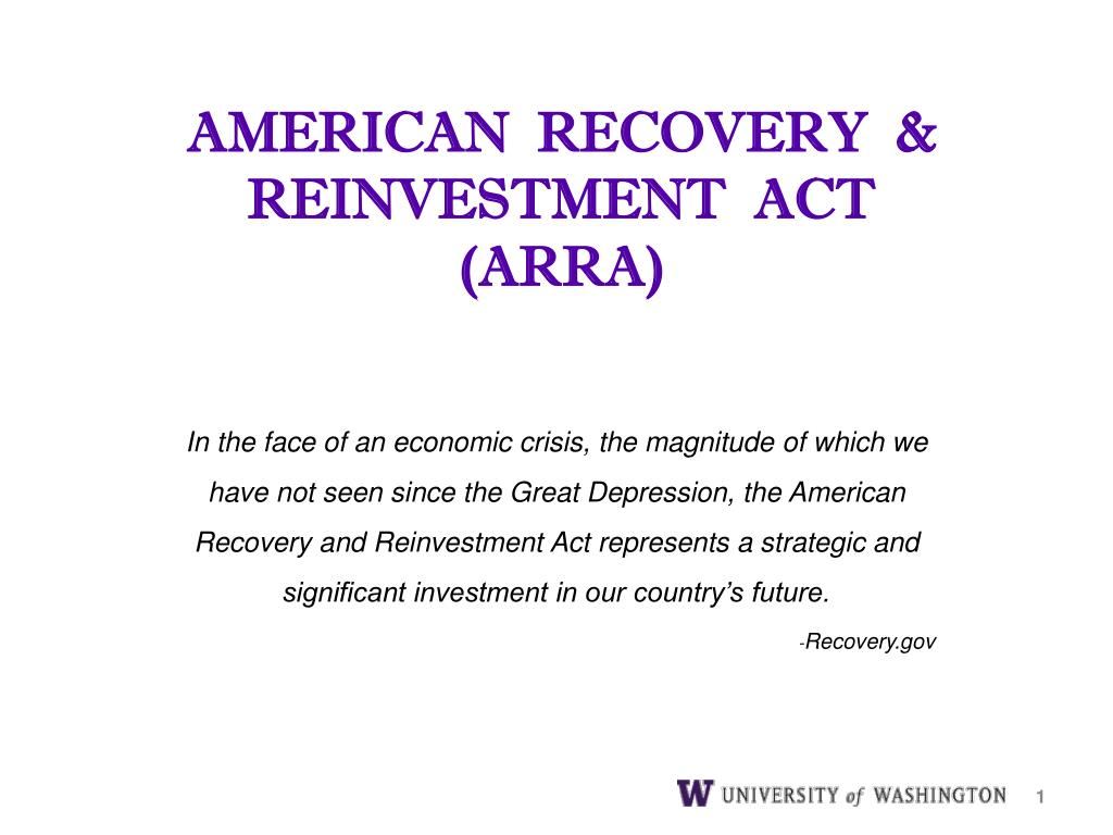 american recovery reinvestment act arra l.