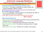 criteria for language readiness a hypothesis on which human brain mechanisms underlie language