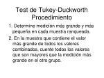 test de tukey duckworth procedimiento