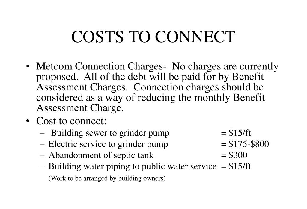 COSTS TO CONNECT