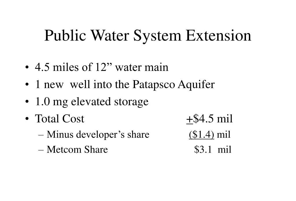 Public Water System Extension