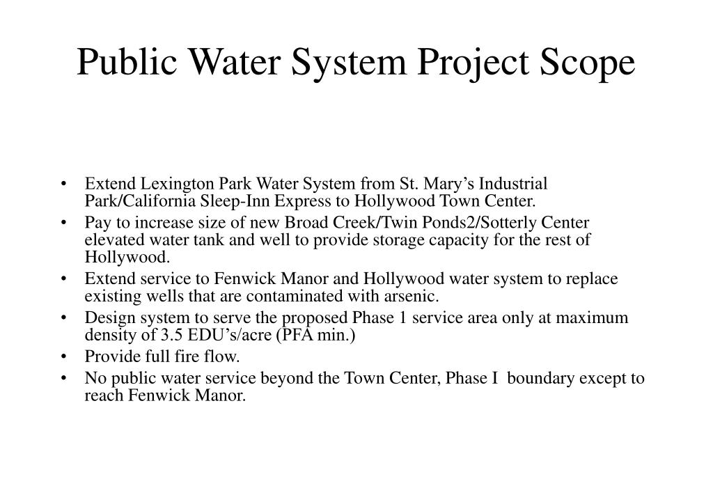 Public Water System Project Scope