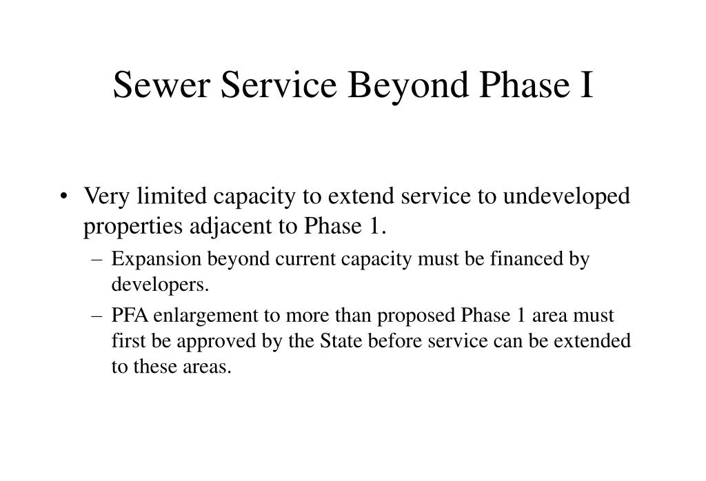 Sewer Service Beyond Phase I