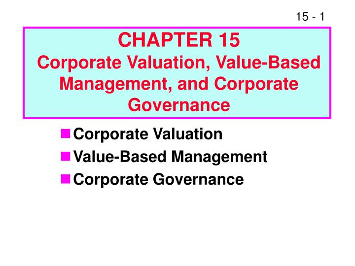 chapter 15 corporate valuation value based management and corporate governance n.