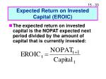 expected return on invested capital eroic