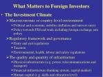 what matters to foreign investors