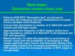 next steps determine mutant clone size