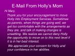 e mail from holly s mom