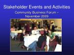 stakeholder events and activities35