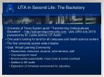 uta in second life the backstory
