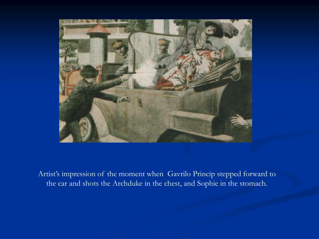 Artist's impression of the moment when  Gavrilo Princip stepped forward to the car and shots the Archduke in the chest, and Sophie in the stomach.