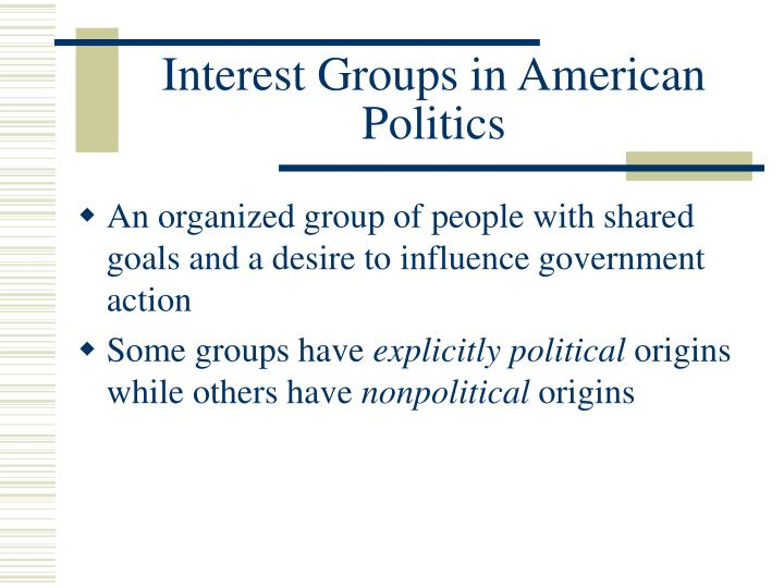 an overview of the interest groups in american politics Issue network – relationships among interest groups, congressional committees and subcommittees, and the government agencies that share a common policy concern political action committee (pac) – the political arm of an interest group that is legally entitled to raise funds on a voluntary basis from members, stockholders, or.