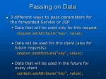 passing on data