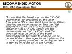 recommended motion cio cao operational plan