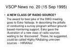 vsop news no 20 15 sep 1995