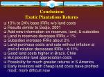 conclusions exotic plantations returns