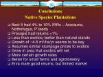 conclusions native species plantations
