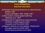 forest plantations selected literature