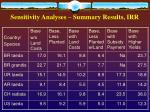 sensitivity analyses summary results irr