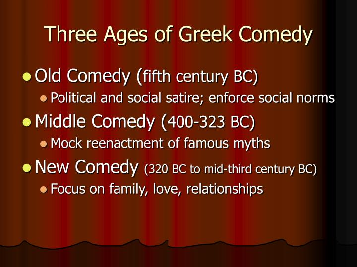 Three ages of greek comedy