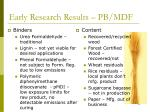 early research results pb mdf