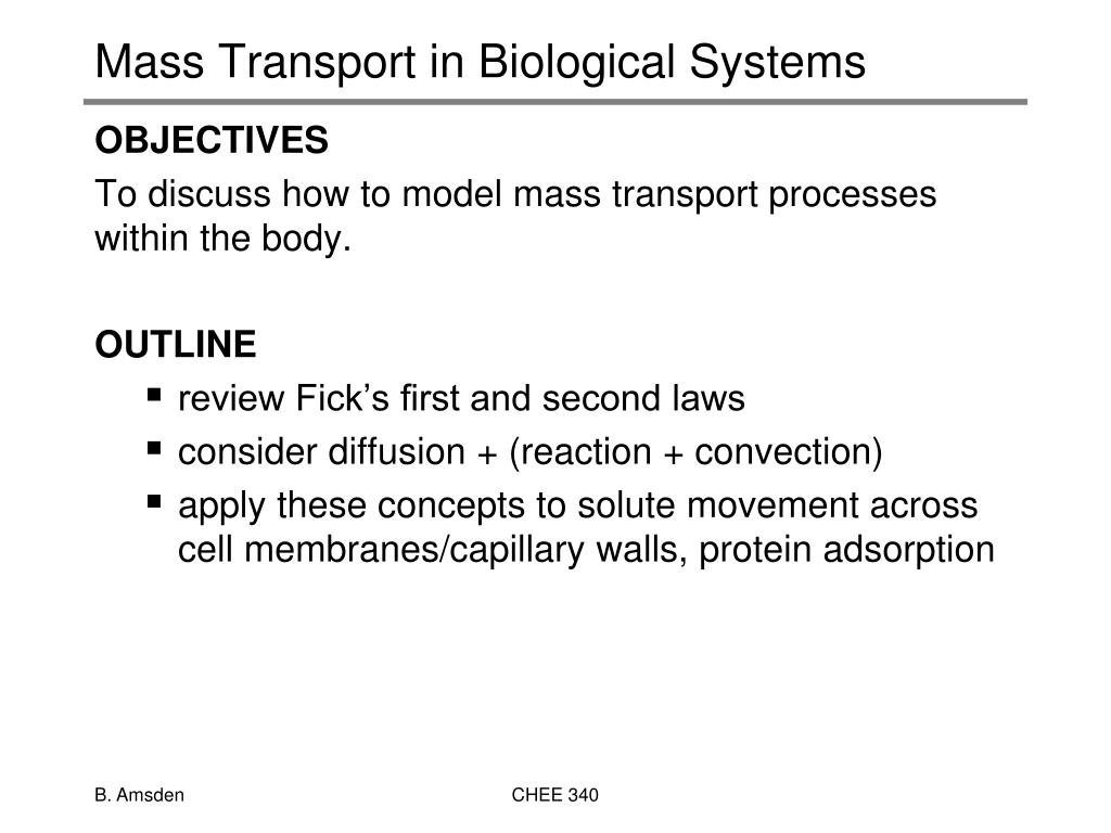 mass transport in biological systems l.