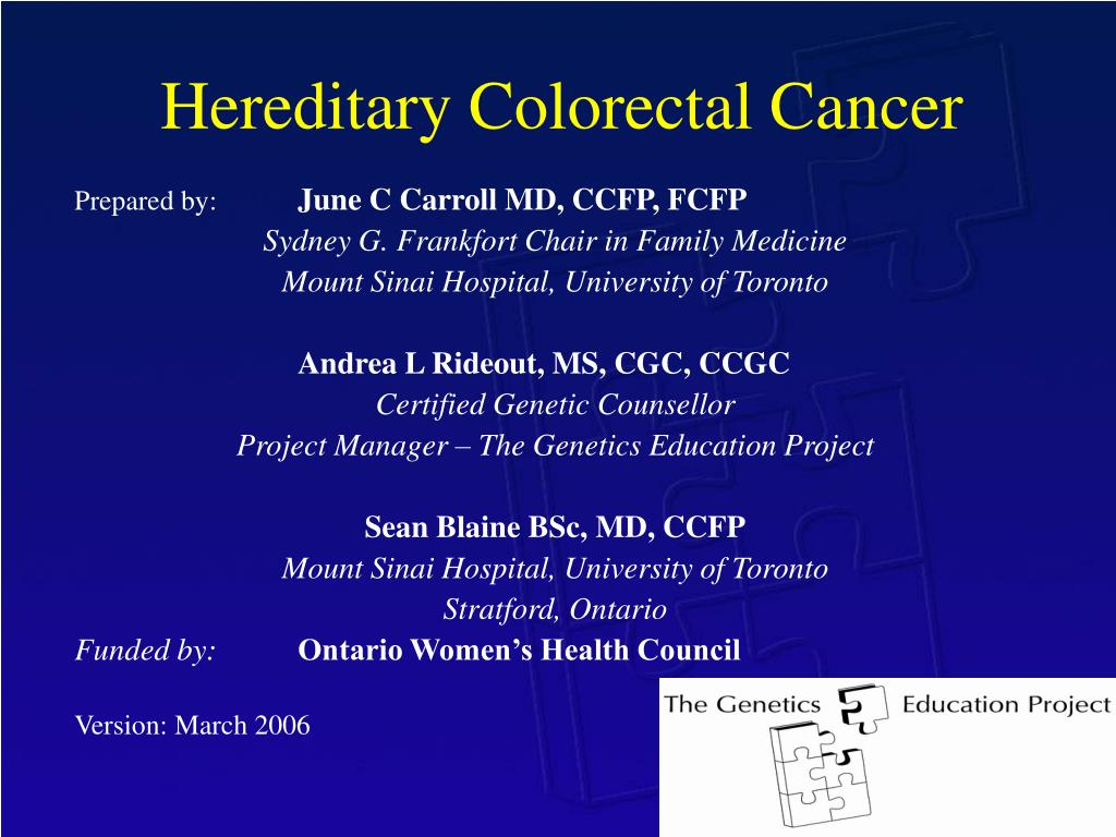 Ppt Hereditary Colorectal Cancer Powerpoint Presentation Free Download Id 346113
