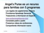 angel s purse es un recurso para familias con 5 programas