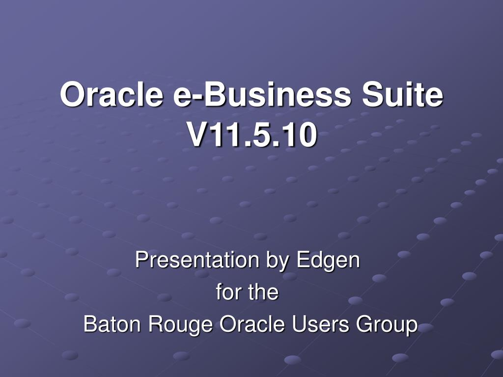 oracle e business suite v11 5 10 l.