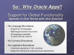 support for global functionality operate in one world with one solution