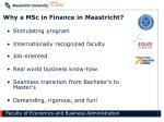 why a msc in finance in maastricht