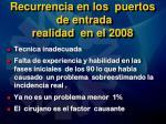 recurrencia en los puertos de entrada realidad en el 2008