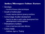 anther microspore culture factors