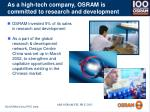 as a high tech company osram is committed to research and development