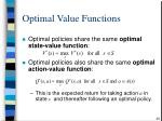 optimal value functions29