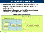 hierarquias e subsistemas