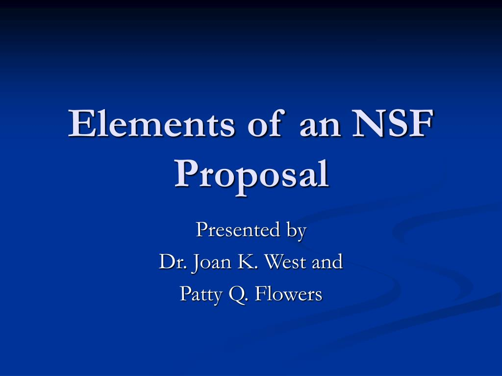 elements of an nsf proposal l.