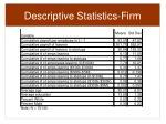 descriptive statistics firm