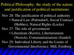 political philosophy the study of the nature and justification of political institutions