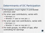 determinants of dc participation