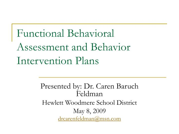 functional behavioral assessment and behavior intervention plans n.
