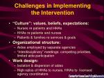 challenges in implementing the intervention