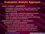 evaluation analytic approach