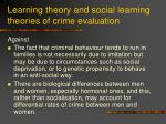 learning theory and social learning theories of crime evaluation50