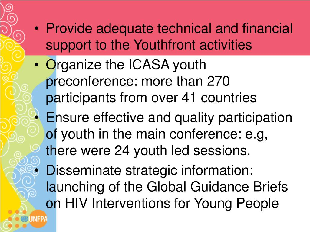 Provide adequate technical and financial support to the Youthfront activities